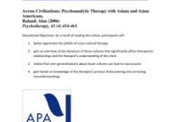 Across Civilizations: Psychoanalytic Therapy with Asians and Asian Americans