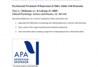 Psychosocial Treatment of Depression in Older Adults with Dementia
