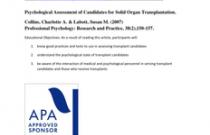 Psychological Assessment of Candidates for Solid Organ Transplantation
