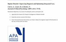 Bipolar Disorder: Improving Diagnosis and Optimizing Integrated Care