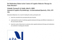 Do Medications Matter in the Context of Cognitive Behavior Therapy for Panic Disorder?
