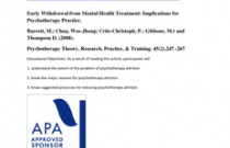 Early Withdrawal from Mental Health Treatment: Implications for Psychotherapy Practice