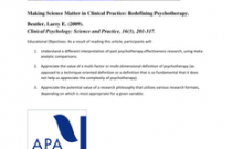Making Science Matter in Clinical Practice: Redefining Psychotherapy
