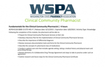 Fundamentals for the Clinical Community Pharmacist
