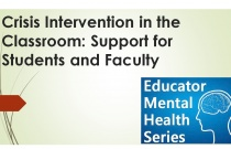Educator Mental Health Series: Crisis Intervention