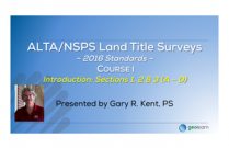 ALTA/NSPS 2016 Standards Course I - Introduction & Sec. 1, 2, 3 (A-D)