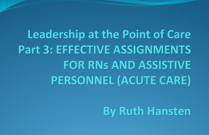 Leadership at the Point of Care Part 3: EFFECTIVE ASSIGNMENTS FOR RNs AND ASSISTIVE PERSONNEL (ACUTE CARE)
