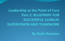 Leadership at the Point of Care Part 2: BLUEPRINT FOR SUCCESSFUL CLINICAL SUPERVISION AND TEAMWORK