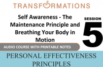 Personal Effectiveness Principles Session 5: Self Awareness - The Maintenance Principle and Breathing Your Body in Motion