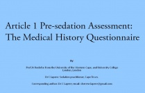 Pre-sedation assessment: the medical history questionnaire