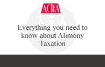 Everything You Need to Know About Alimony Taxation - Recorded: 06/04/15