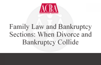 Family Law and Bankruptcy Sections: When Divorce and Bankruptcy Collide - Recorded: 07/30/15