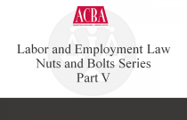 Labor and Employment Law Nuts and Bolts Series, Part V - Recorded: 09/15/15