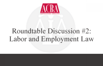 Roundtable Discussion #2: Labor and Employment Law - Recorded: 05/17/15