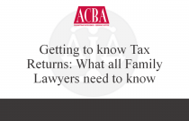 Getting to Know Tax Returns: What All Family Lawyers Need to Know - Recorded: 05/03/16