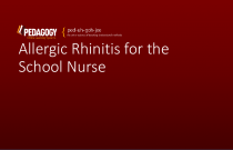 Allergic Rhinitis for the School Nurse