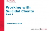 Working With Suicidal Clients: Part 1