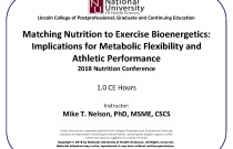 Matching Nutrition to Exercise Bioenergetics: Implications for Metabolic Flexibility and Athletic Performance