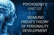 PSYCHOLOGY 1 UNIT 10: SIGMUND FREUD'S THEORY OF PERSONALITY DEVELOPMENT