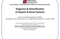 Diagnosis & Detoxification of Hepatic & Renal Systems [DABCI 11]