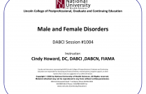 Male and Female Disorders, DABCI Session #1004