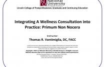 Integrating A Wellness Consultation into Practice: Primum Non Nocera