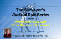 The Surveyor's Judicial Role Series 1 – What is the Real Role of the Boundary Surveyor